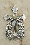 SSC32 - Sterling Silver Crucifix, Europe, Angels, 2 3/4 in.