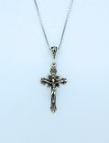 SSN129 - Sterling Silver Necklace, Crucifix, 18 in. Sterling Silver Chain