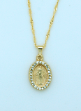 BMF645 - Brazilian Necklace, Gold Plated, Miraculous Medal with Crystals, 20 in. Chain