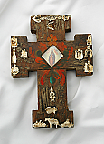 MXC7 - Mexican Hand Painted Cross with Milagros, 7 1/2 in.