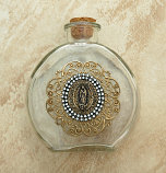 VHWB10 - Vintage Style Holy Water Bottle, Guadalupe Medal, Double Row Swarovski Crystals