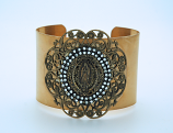 VCB10 - Vintage Style Cuff Bracelet, Guadalupe Medal, Double Row Swarovski Crystals
