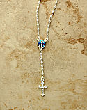 BTAE20GRS - Brazilian Rosary Necklace, Silver Plated with Our Lady of Grace