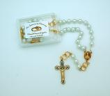 PMT403 - 7 mm. Glass Pearl Bride's Rosary from Fatima