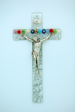 IG1963 - Italian Genuine Murano Glass Crucifix, Clear with Flowers, 6 in.