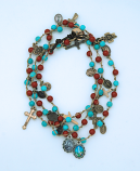 LA11346-CTQ - Coral & Turquoise Gemstone Wrap Bracelet with Medals