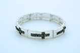 CU5843 - Thin Silver Bracelet, Small Hematite Colored Crystal Crosses