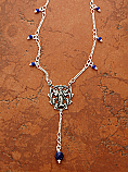 SSN25 - Sterling Silver Madonna Medal with Lapis Beads on Sterling Silver Chain