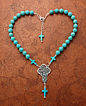 SSGN2 - Sterling Silver Necklace, Turquoise with Guadalupe Medal