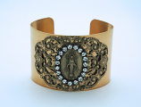 VCB11MM - Vintage Style Cuff Bracelet, Miraculous Medal, Clear Swarovski Crystals