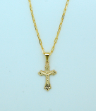 BCF23 - Brazilian Necklace, Gold Plated Crucifix, 7/8 in., 20 in. Chain