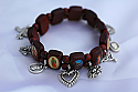 BP06CH - Brazilian Wood Bracelet, Brown, with Medals