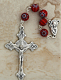 DR120R - Italian Murano Glass Rosary, Red