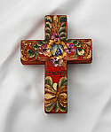 MXC19 - Mexican Hand Painted Cross, 4 in.