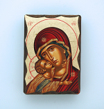 GMINI2-MDR - Greek Hand Painted Serigraph Table Icon, Red Madonna, 2 1/2 x 3 1/2 in.