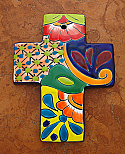 MXT5 - Ceramic Talavera Cross, 7 inches