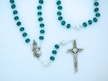PTF004TL - 8 mm. Teal Crystal Rosary with Silver Our Father Beads from Fatima