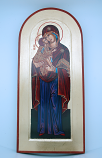 G2SOL-MDR - Greek Icon, Hand Painted Serigraph, Mary, 17x9 in.