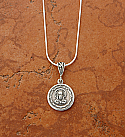 SSN68 - Sterling Silver Sacred Heart / Guadalupe Medal on Sterling Silver Chain