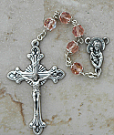 DR104P - Italian Cut Glass, Capped Rosary, Pink