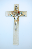IG3194 - Italian Genuine Murano Glass Crucifix, Clear & Gold with Flowers, 8 in.