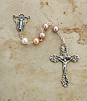 SSR10 - Sterling Silver Rosary, Multi-Pastel Freshwater Pearls