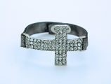 CU1025S - Large Crystal Cross Bracelet on Silver, Faux Leather Band