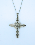 SSN35 - Sterling Silver Necklace, Marcasite Cross, 18 in. Sterling Silver Chain