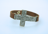 CU1025G - Large Crystal Cross Bracelet on Gold, Faux Leather Band