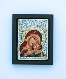 GEM03XD-MDR - Greek Icon, Sterling Silver Plated, Red Madonna, 2 1/2 x 3 in.
