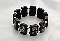 BVP13 - Brazilian Wood Saints Bracelet, Black, Silver Beads, Black & White Pictures
