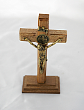 BA10278 - Brazilian Wood Wall Crucifix with Removable Stand, Gold Corpus with St. Benedict Medal