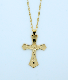 BCF21 - Brazilian Necklace, Gold Plated Crucifix, 1 1/2 in., 20 in. Chain