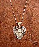 SSN84 - Rose Gold Over Sterling Silver Hammered Heart with Cross