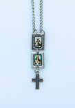 BR139G - Brazilian Stainless Steel Scapular, Color Pictures, Cross