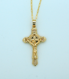 BCF88 - Brazilian Necklace, Gold Plated Crucifix with St. Benedict, 20 in. Chain