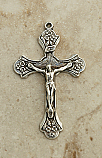 SSC26 - Sterling Silver Crucifix, Cross with Flowers, 2 in.