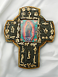 MXC10 - Mexican Hand Painted Cross with Milagros, 9 1/2 in.