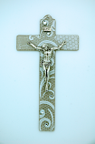 IG2583 - Italian Genuine Murano Glass Crucifix, Beige with White Swirls, 6 in.