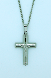 BCR53 - Brazilian Crucifix Necklace, Stainless Steel, 1 1/4 in., 20 in. Chain
