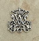 SS46 - Sterling Silver Center, Ave Maria with Crown, 1 in.