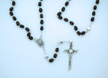 P3056 - Rosary from Fatima, Brown Oval Beads with Silver Our Father Beads