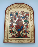 G2SKS-3 - Greek Icon, Hand Painted Serigraph, Madonna & Apostles, 14x10 in.
