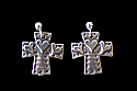 SSE28 - Sterling Silver Earrings, Cross with Hearts