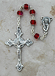DR104R - Italian Cut Glass, Capped Rosary, Red