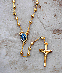 BTAE20GRG - Brazilian Rosary Necklace, Gold Plated with Our Lady of Grace