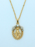 BMF562 - Brazilian Necklace, Gold Plated, Cut-Out Miraculous Medal with Crystals, 20 in. Chain