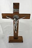 BA10286 - Brazilian Wood Wall Crucifix with Removable Stand, Silver Corpus with St. Benedict Medal