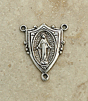 SS13 - Sterling Silver Center, Shield with Miraculous Medal, 1 in.