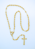 P984D - 4 mm. Gold Stardust Metal Rosary from Fatima